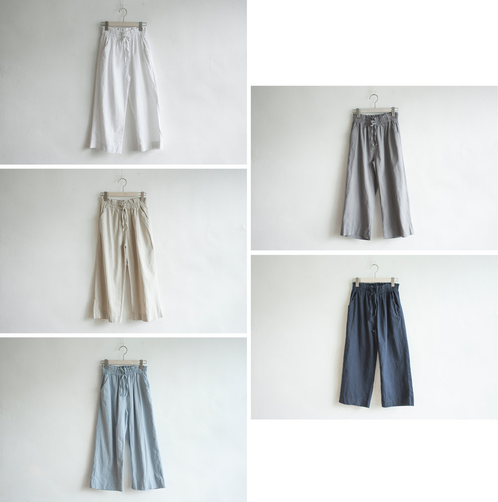 NBB247 landon linen day pants early bird price: HK$298 / NT$1280    regular price: HK$348 / NT$1490    color: white / almond / light blue / grey / navy size: free    made in korea       measurement (cm)    length 72    waist 66-71 hip 97