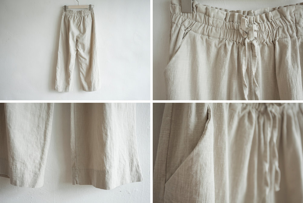 NBB247 landon linen day pants early bird price: HK$298 / NT$1280    regular price: HK$348 / NT$1490    color: almond size: free    made in korea       measurement (cm)    length 72    waist 66-71 hip 97