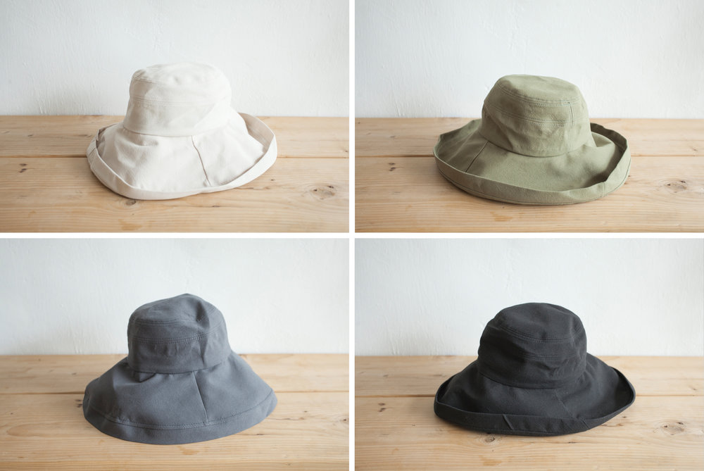 NBA1044 lydia wide brim cotton hat early bird price: HK$168 / NT$720    regular price: HK$198 / NT$850    color: ivory / khaki / grey / black    made in korea      measurement (cm)    head size 56