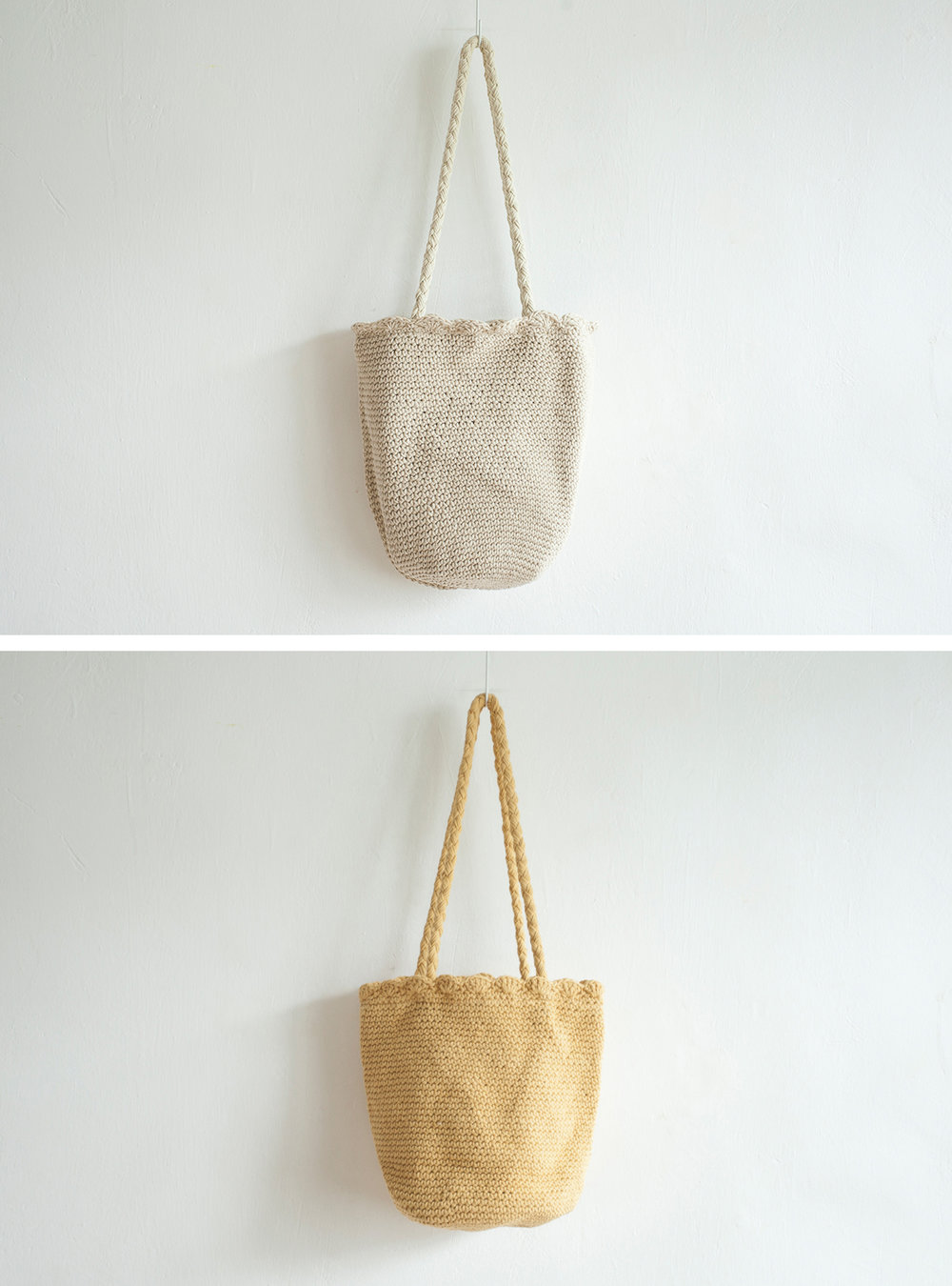 NBA1046 teza string knit bucket bag early bird price: HK$288 / NT$1240    regular price: HK$338 / NT$1450    color: beige / mango yellow    made in korea      measurement (cm)    head size 33 x 24 strap length 68
