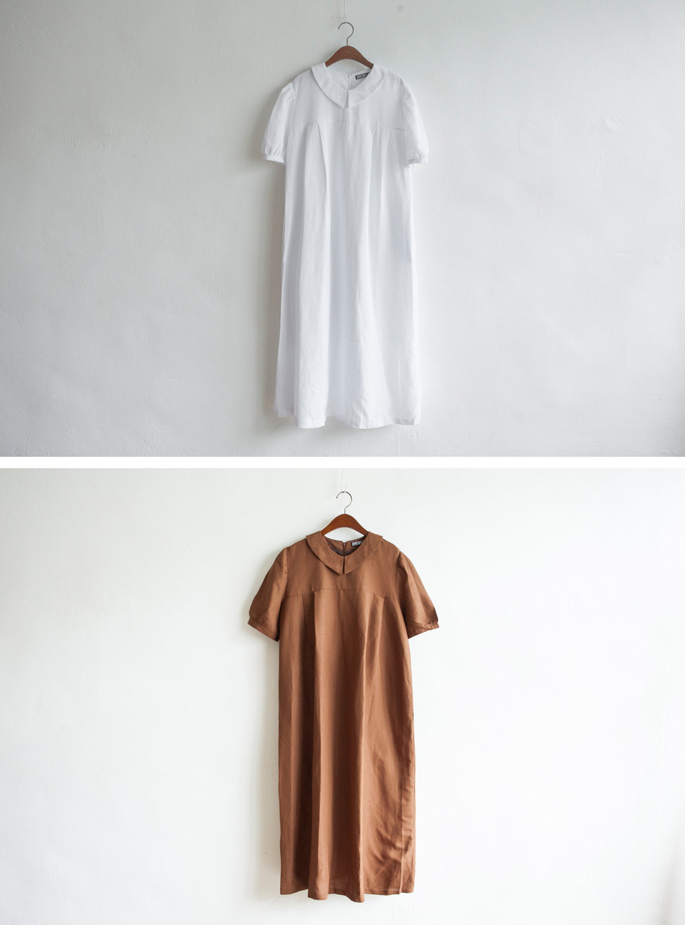 NBOA352 evie pointy collar dress    early bird price: HK$398 / NT$1710    regular price: HK$468 / NT$2010    color: white / brown    made in korea     measurement (cm) shoulder 40 bust 105 length 125 waist 105 hip 130 sleeves 29