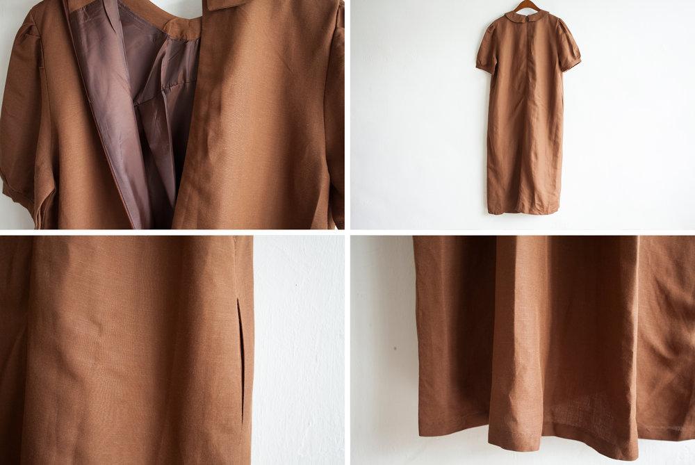 NBOA352 evie pointy collar dress    early bird price: HK$398 / NT$1710    regular price: HK$468 / NT$2010    color: brown    made in korea     measurement (cm) shoulder 40 bust 105 length 125 waist 105 hip 130 sleeves 29