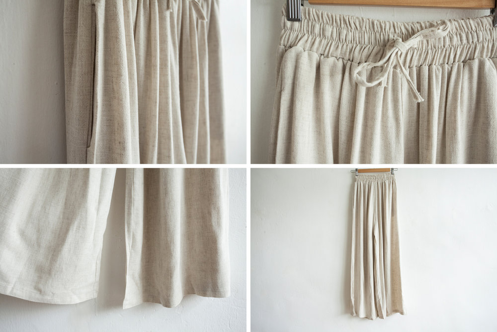 NBB248 petri flare linen pants early bird price: HK$378 / NT$1630    regular price: HK$438 / NT$1880    color: almond  size: free    made in korea       measurement (cm)    length 105    waist 65-73 hip 112 crotch 35 thigh 71