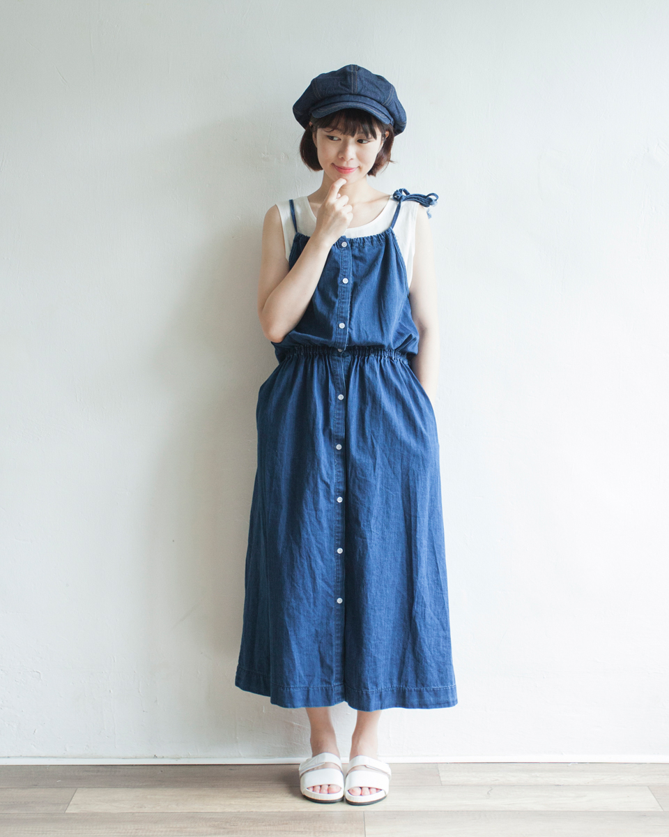 OVERALL |NBOA354 mila ribbon strap denim dress 2 color: light denim / dark denim