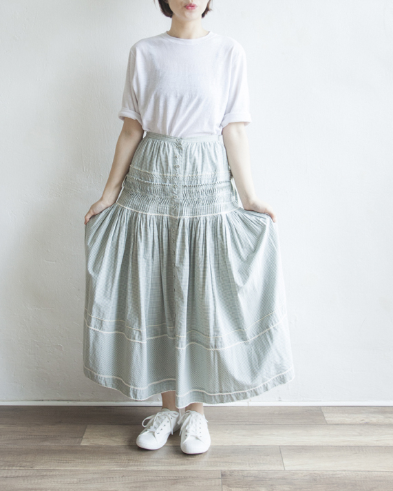 NBV6042 pink house baby blue side ribbon cotton skirt | HK$428