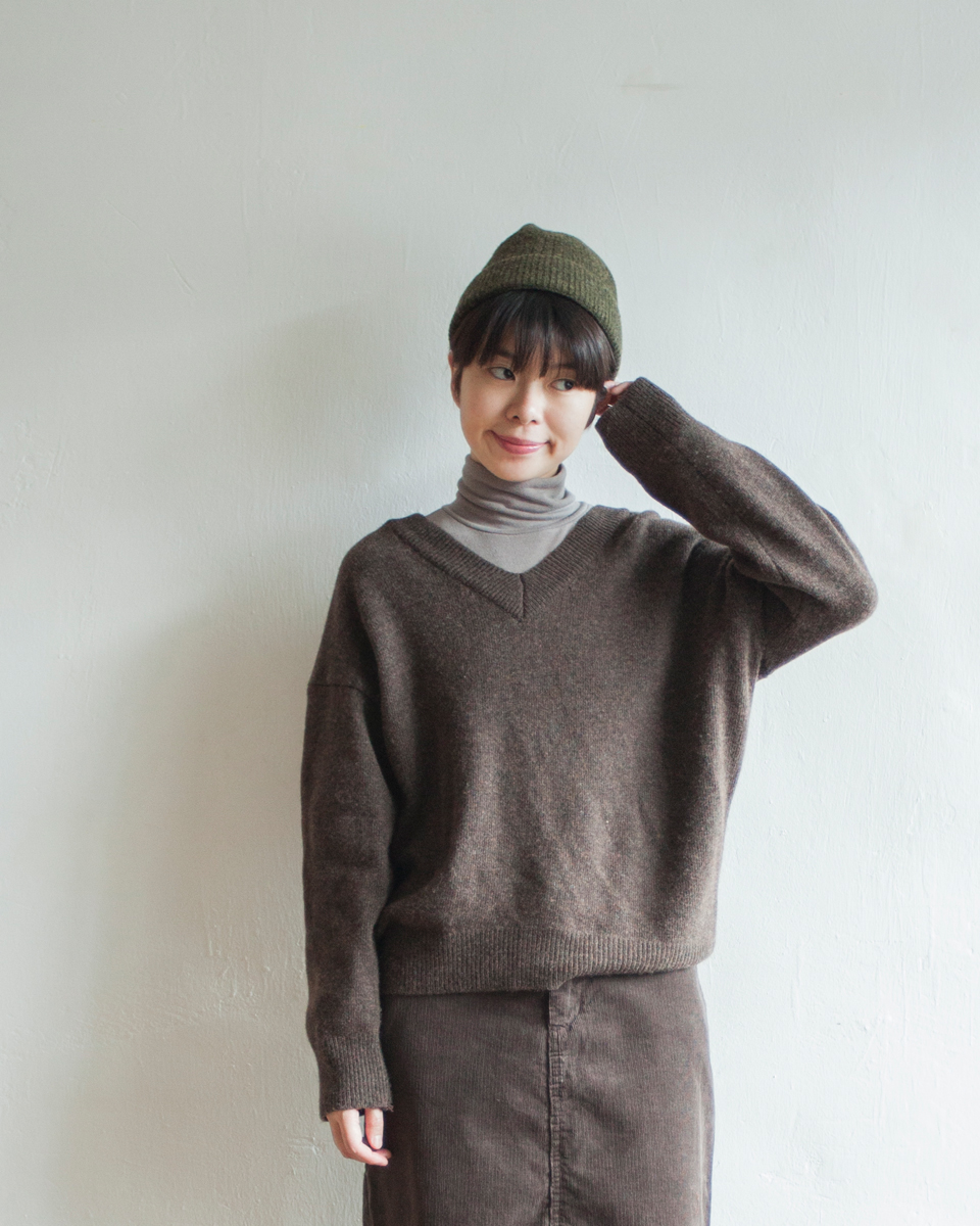 TOP | NBT832 v collar soft cashmere mixed knit 3 color: beige / brown / black