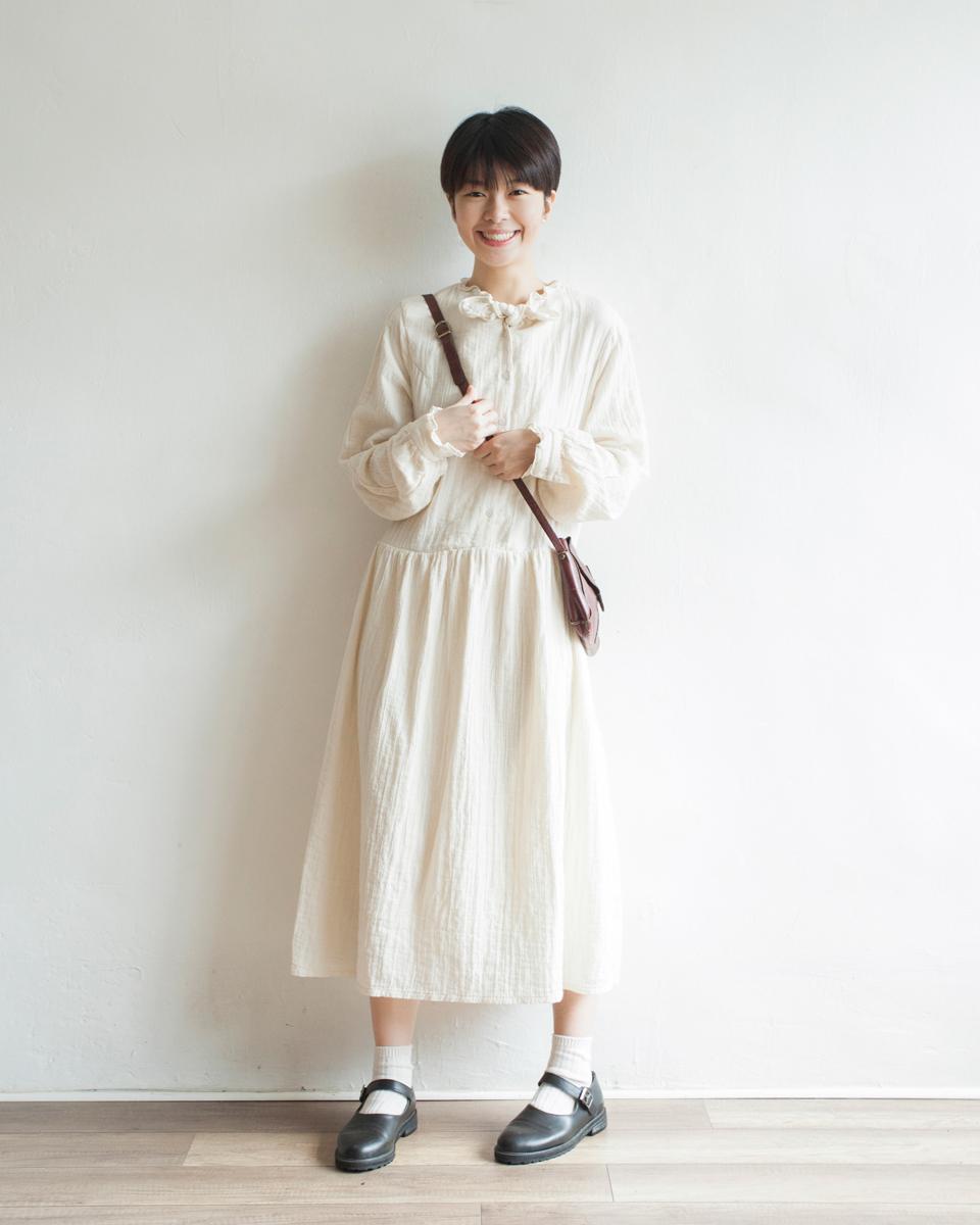 NBOA370 ruffle bow collar crepe cotton dress | ivory | HK$428 NT$1760