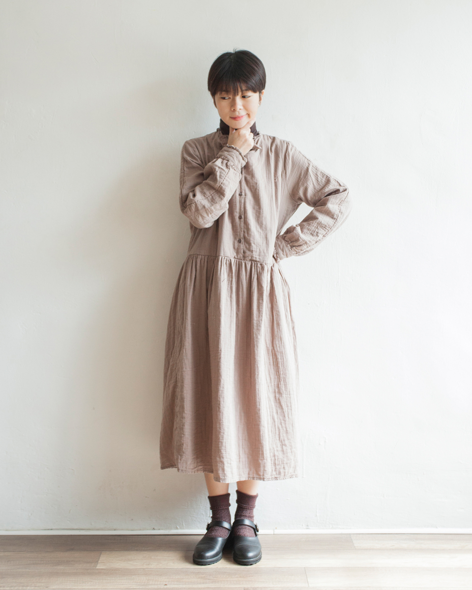 NBOA370 ruffle bow collar crepe cotton dress | beige | HK$428 NT$1760