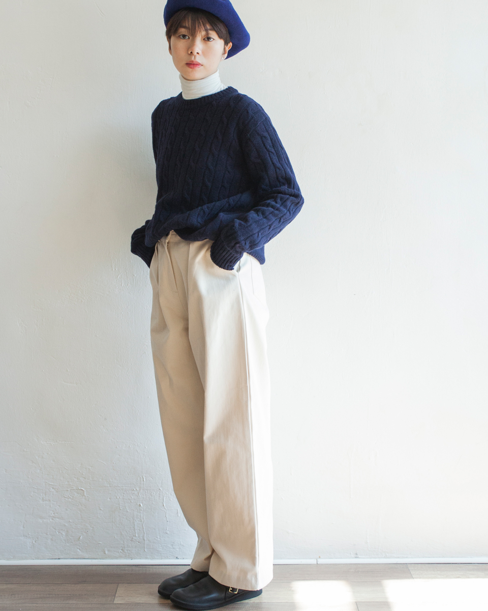 NBT831 crew neck daily cable knit top 80% wool | navy | HK$358 NT$1470