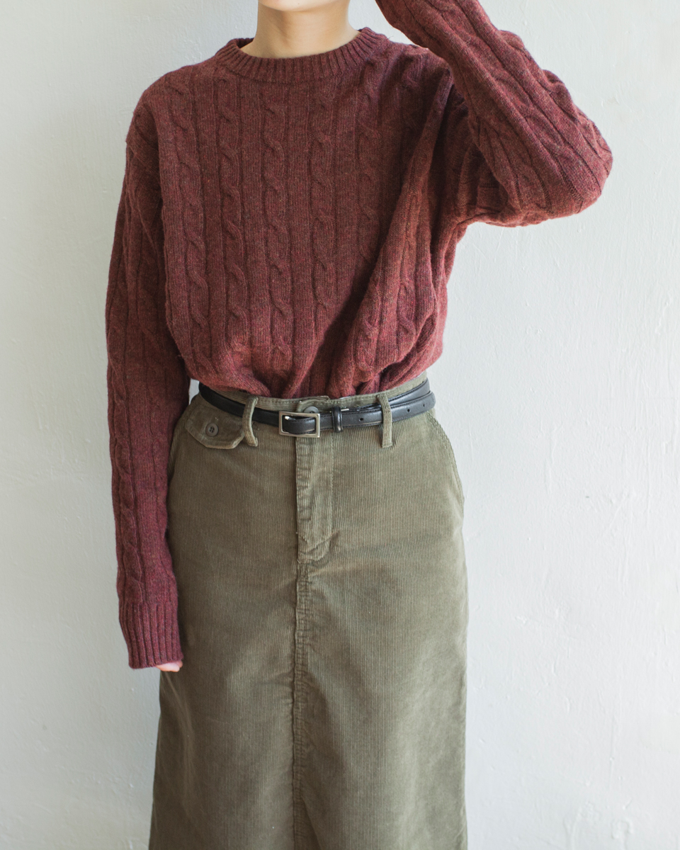 NBT831 crew neck daily cable knit top 80% wool | wine | HK$358 NT$1470