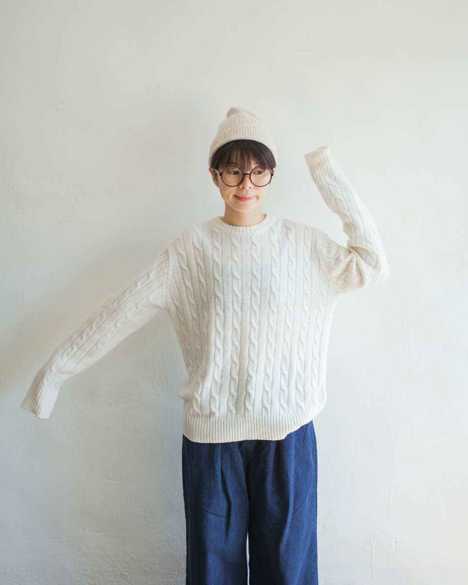 NBT831 crew neck daily cable knit top 80% wool | ivory | HK$358 NT$1470