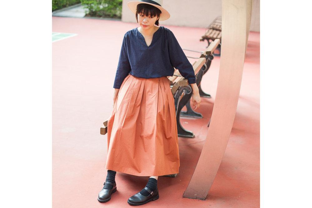 NBB254 ruffle waist box pleats banding skirt | coral | HK$378 NT$1550