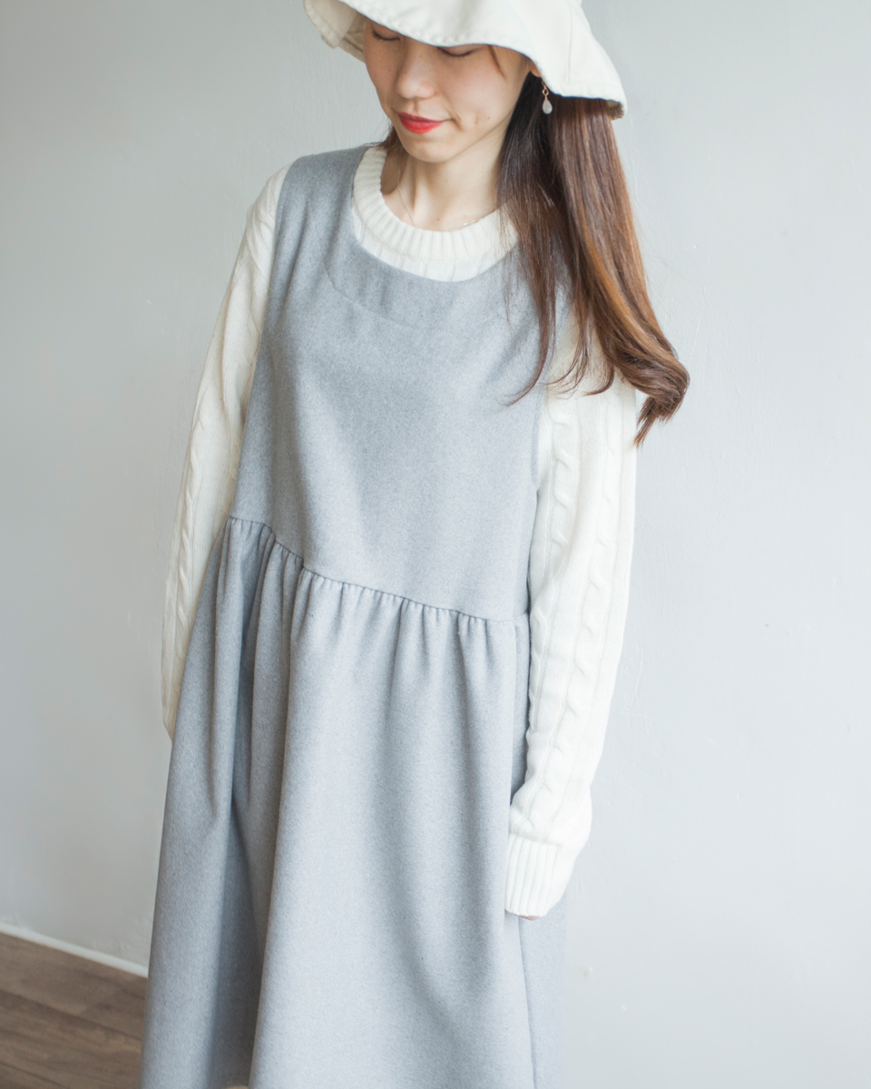 TOP | NBT831 crew neck daily cable knit top 80% wool 4 color: ivory / beige / wine / navy