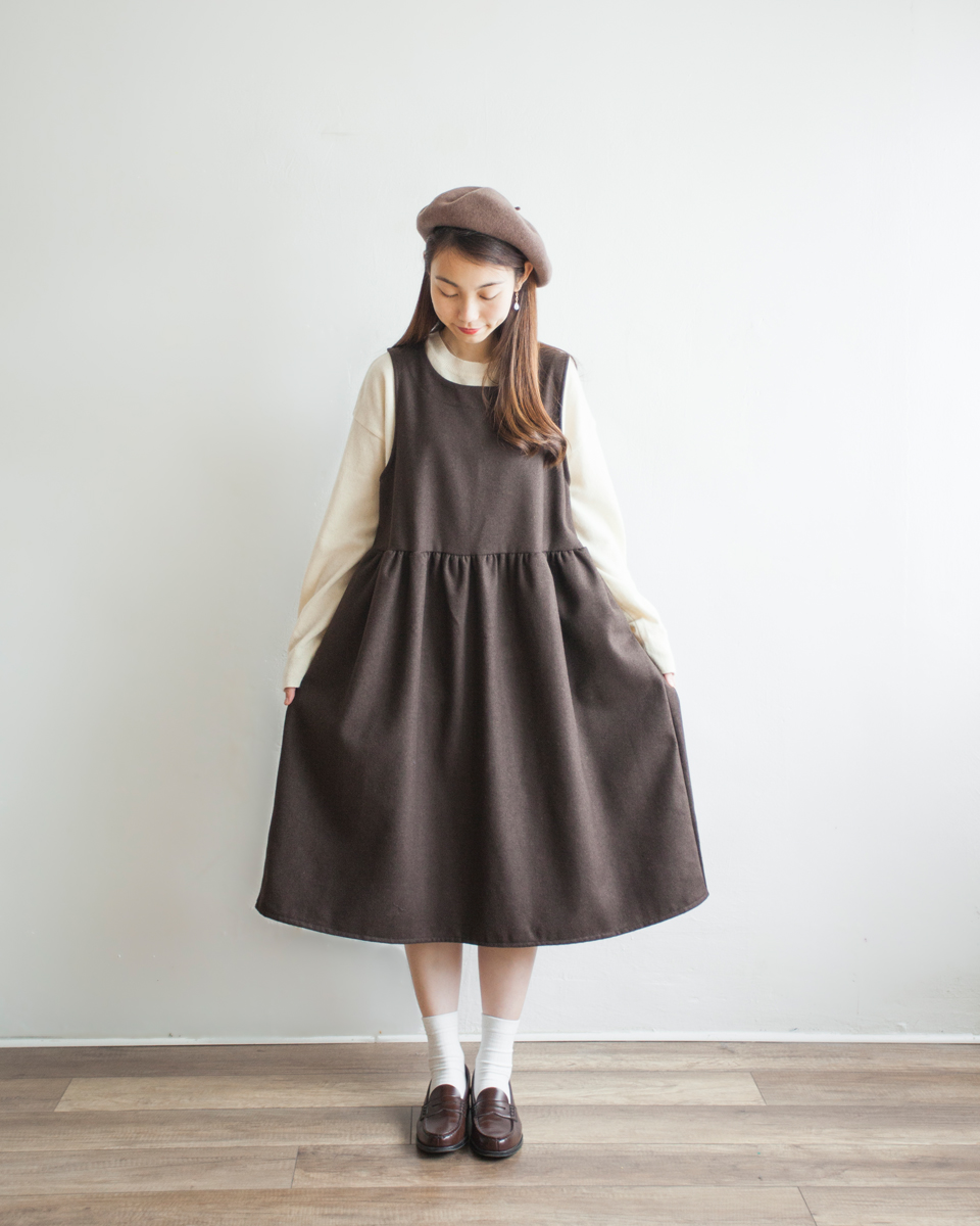 OVERALL | NBOA375 wool mixed round collar pintuck dresslight grey 4 color: checks / light grey / navy / brown
