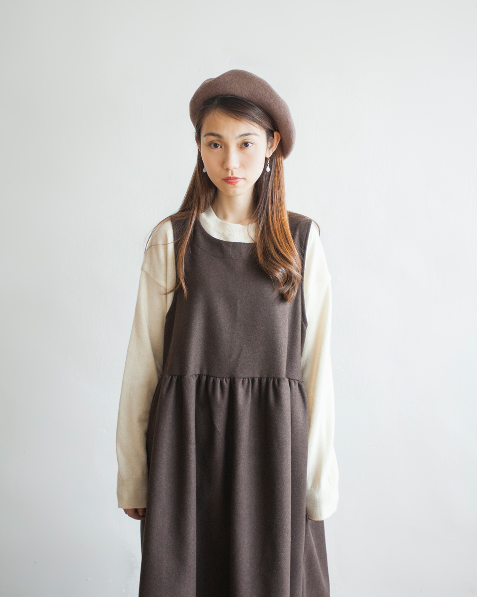 TOP | NBT837 henry collar waffle knit top 2 color: ivory / dark choco