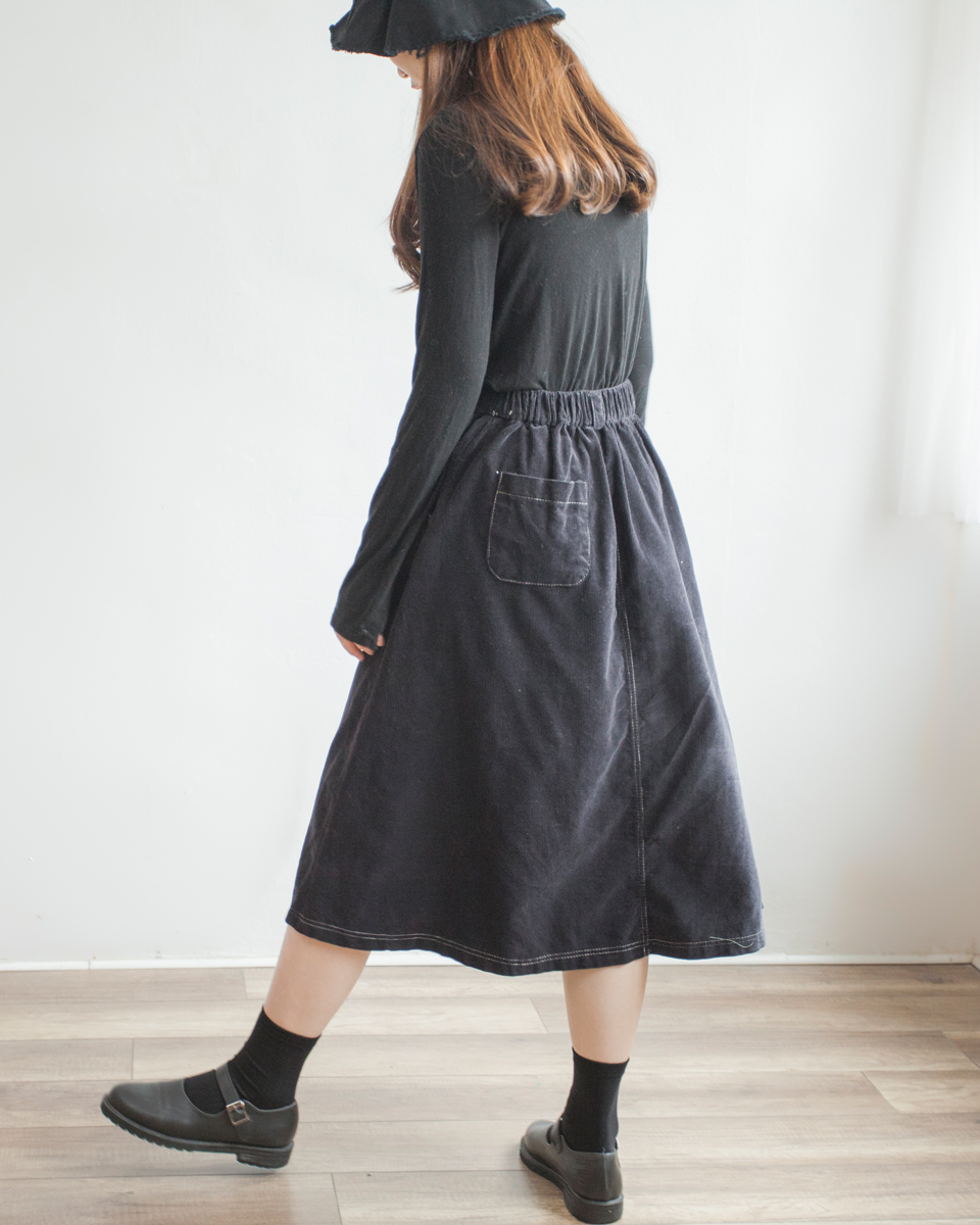 SKIRT | NBB266 soft corduroy daily banding skirt 3 color: ivory / brown / black