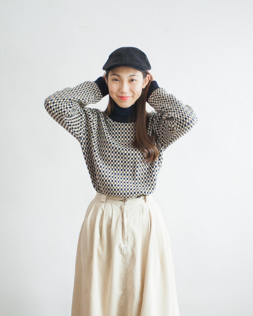 TOP | NBT834 crew neck mini blocks wool mixed knit 2 color: brown x green / navy x olive