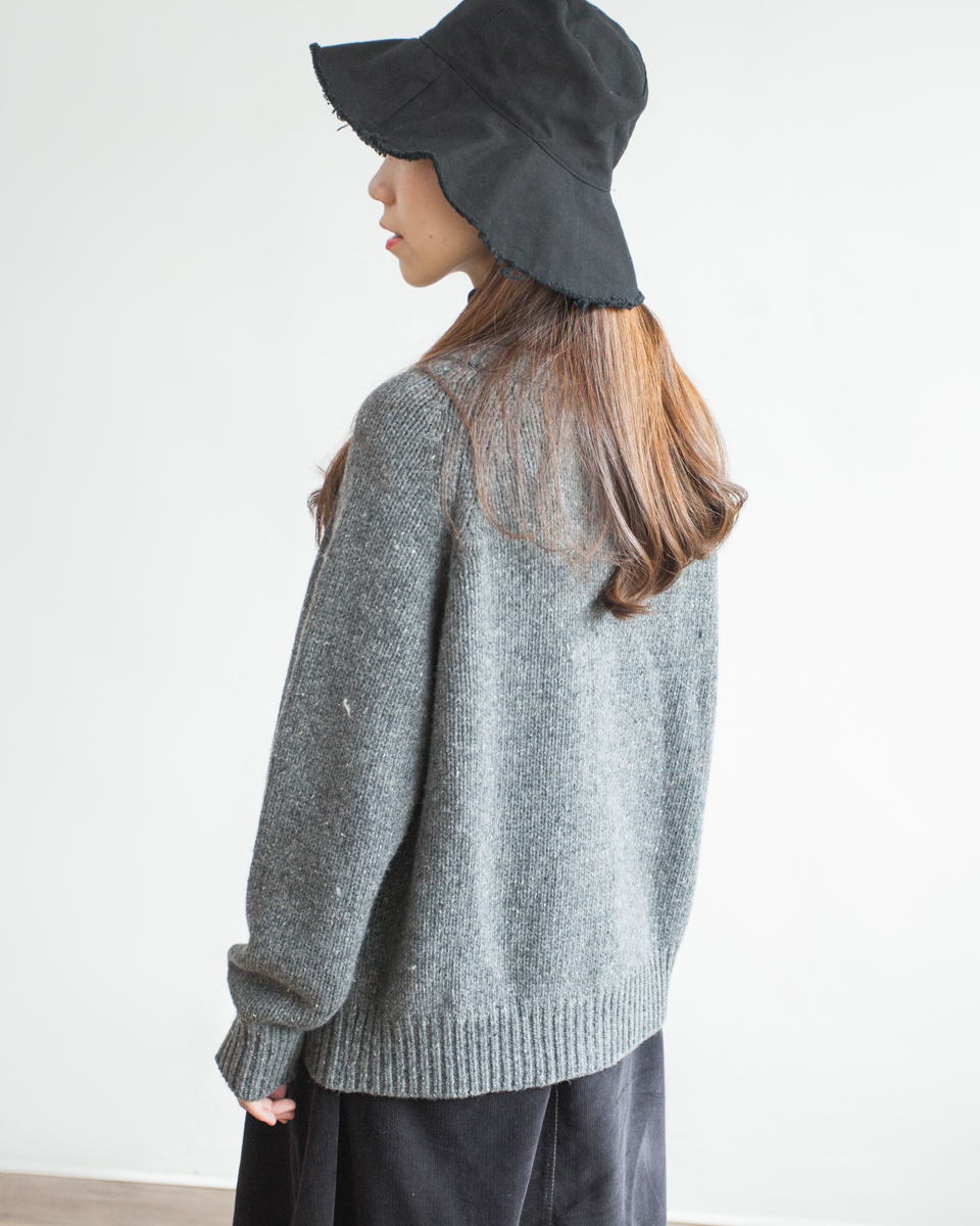 OUTER | NBU218 crew neck stockinette knit noise mixed cardigan 3 color: almond / brown / grey