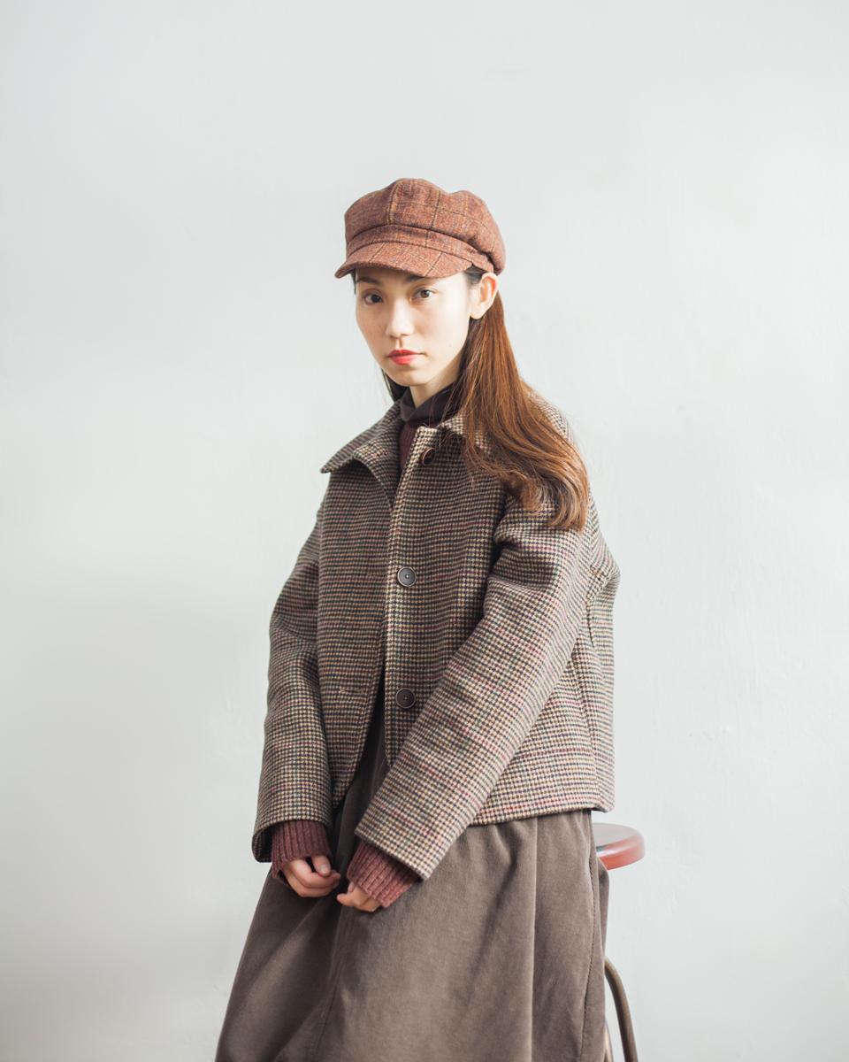 OUTER | NBU217 gunclub check wool mixed short jacket 1 color: brown checks