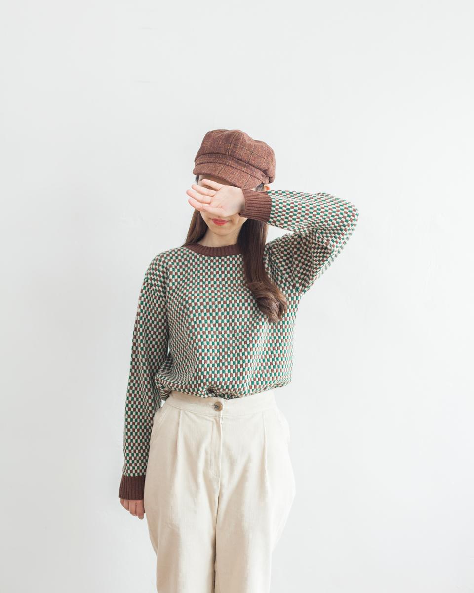 TOP   NBT834 crew neck mini blocks wool mixed knit 2 color: brown x green / navy x olive