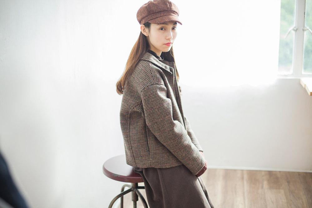 NBU217 gunclub check wool mixed short jacket |brown checks |HK$568 / NT$2330