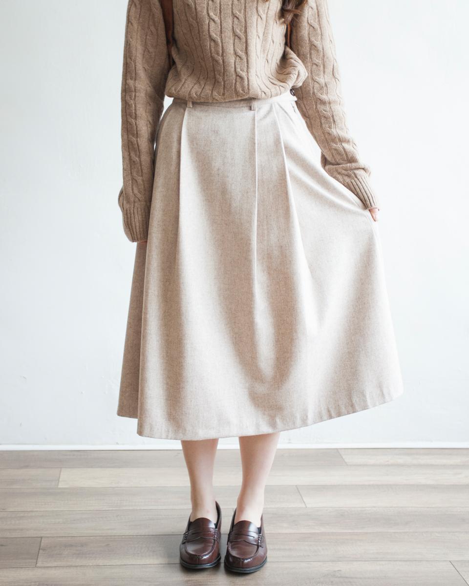NBB264 light wool front pleats a skirt | charcoal |HK$358 NT$1470