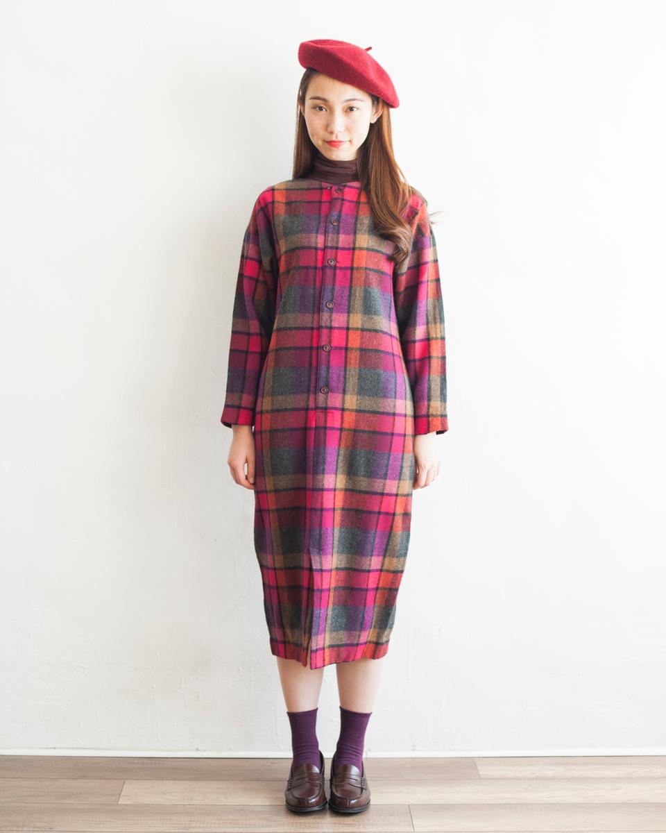 DRESS  NBV6256 danielle mixed plaids wool dress