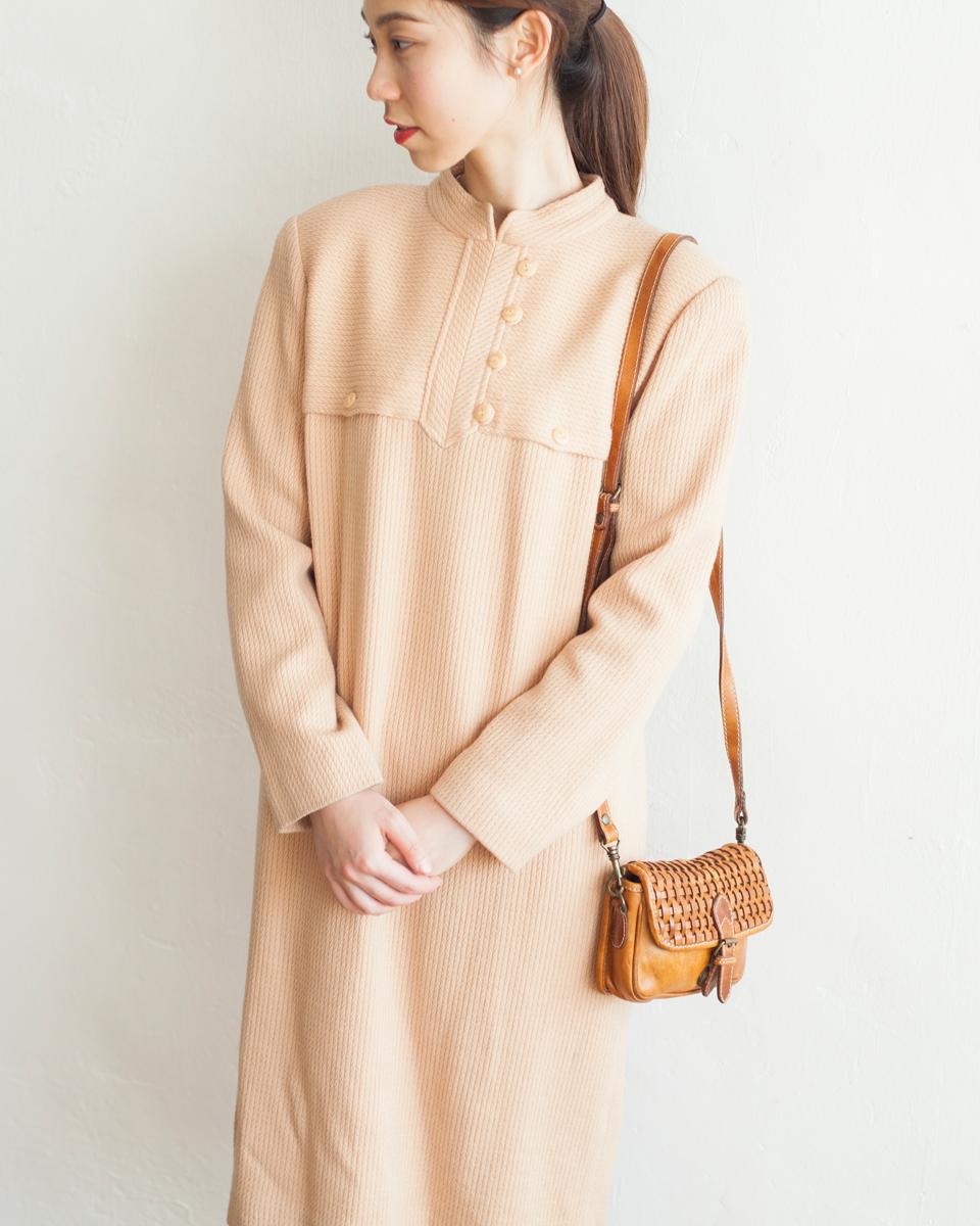 DRESS |NBV6255 grienda apricot high neck wool knit dress