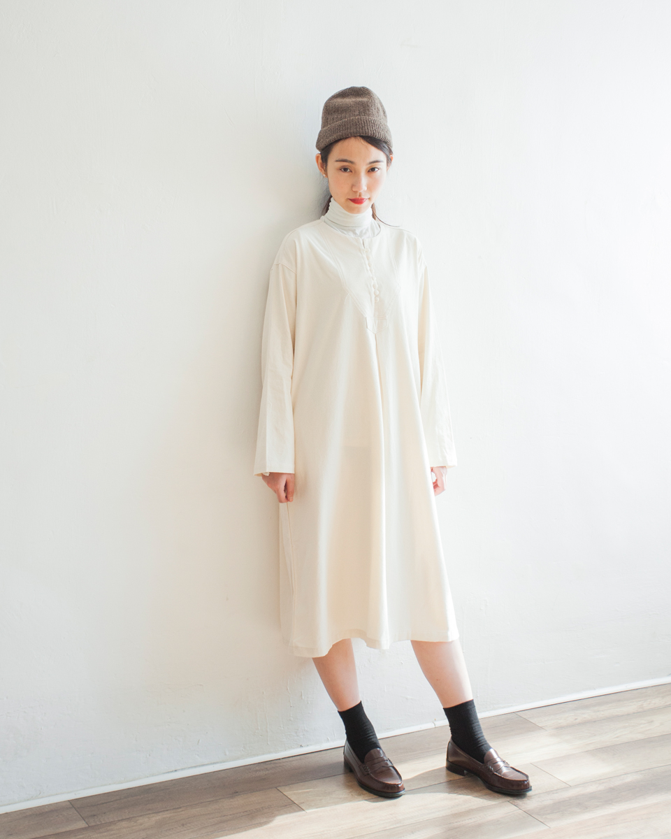 DRESS |NBOA368 round collar buttoned light wool cotton dress 2 color: ivory / chestnut
