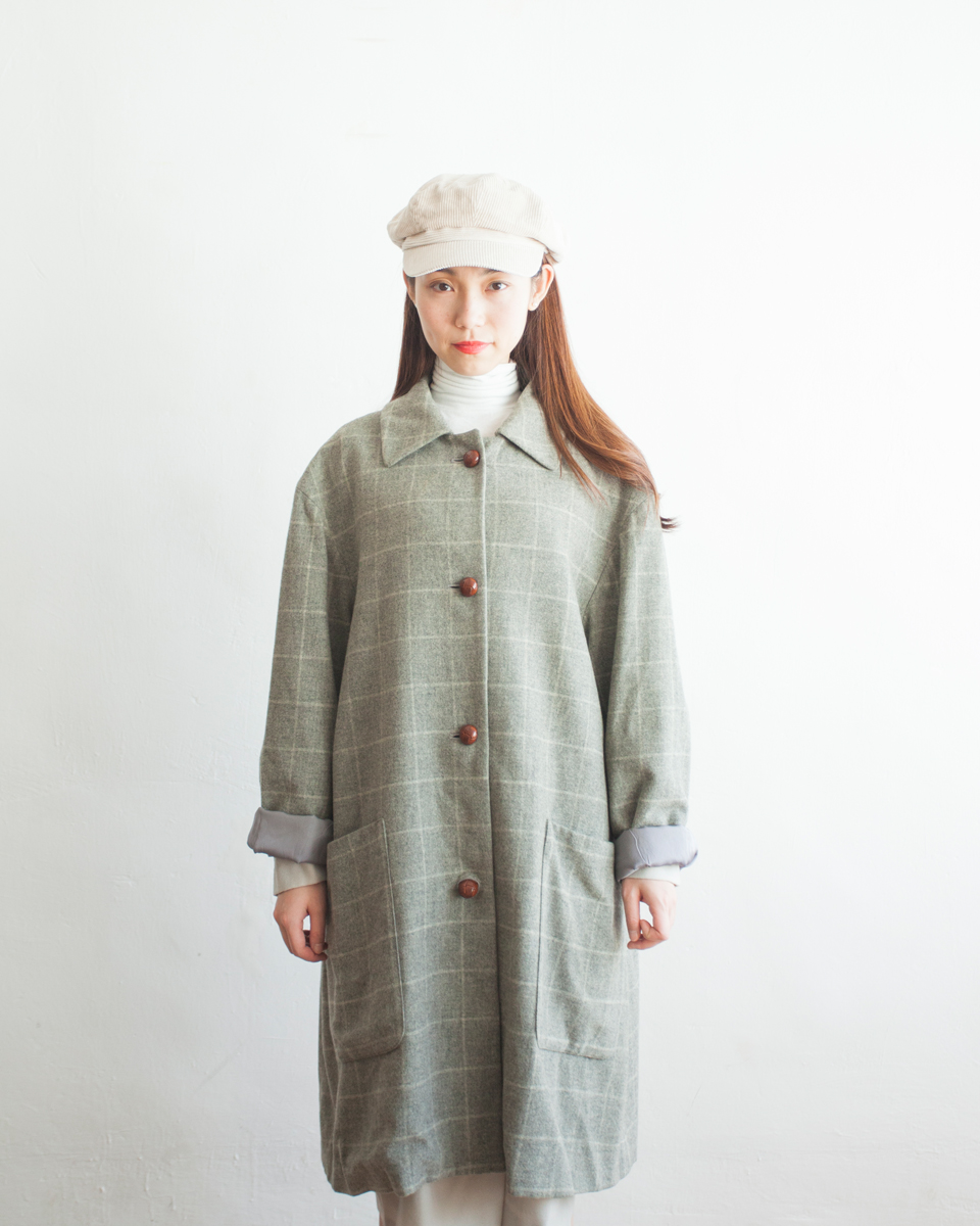 OUTER | NBV6268 harriss grey plaids wool mixed coat