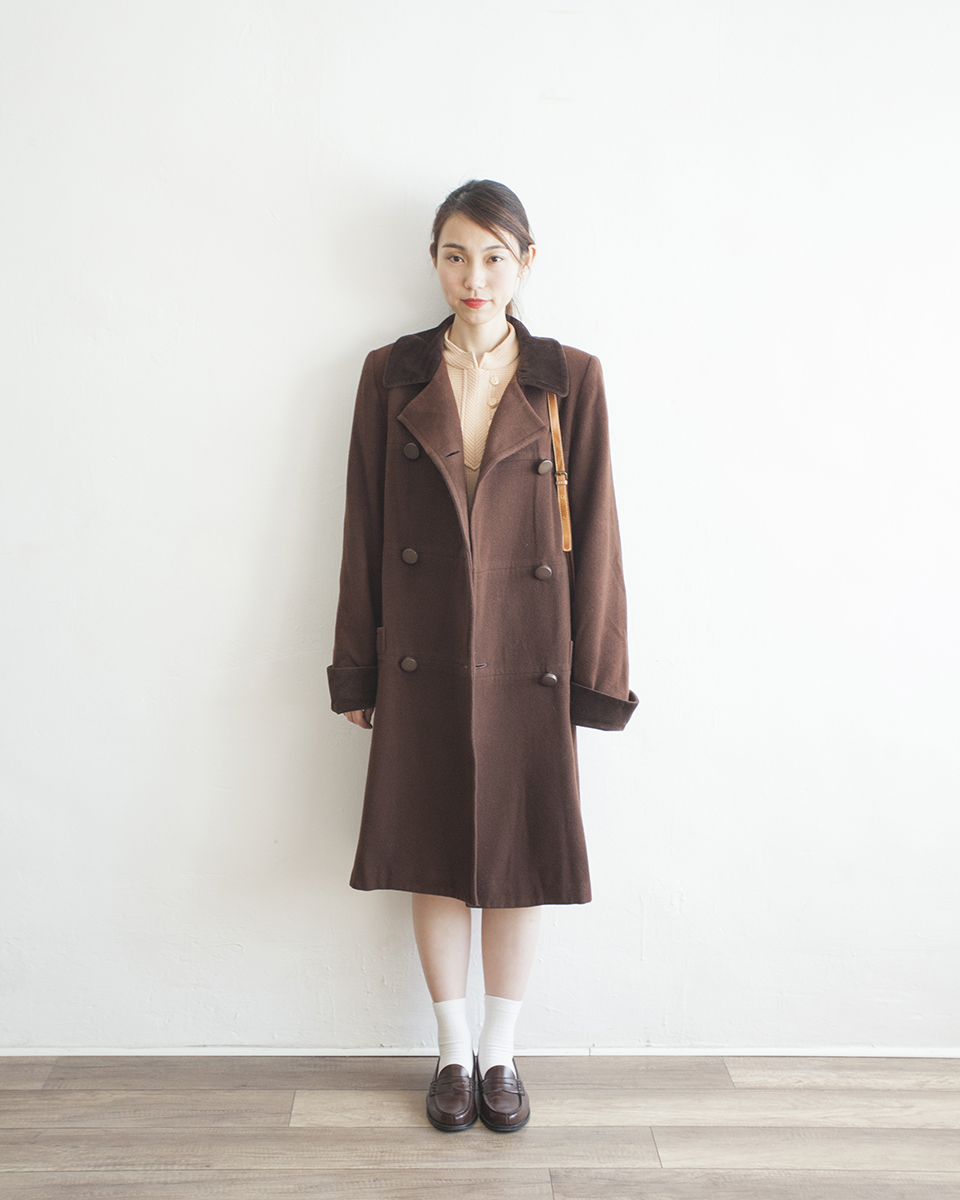 OUTER | NBV6266 andro-gyne velvet collar wool box coat