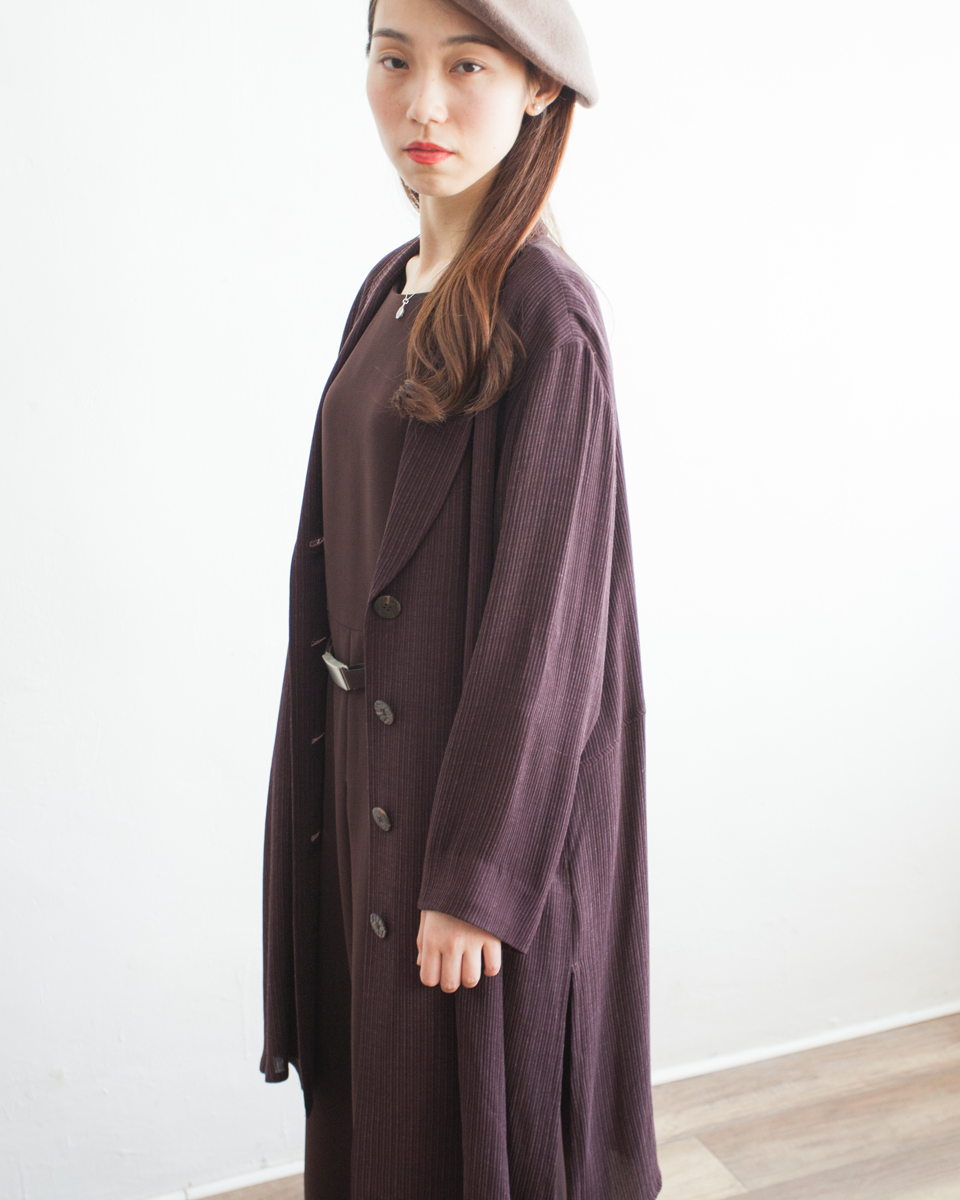 OUTER |NBV6179 brown stripe linen mixed jacket