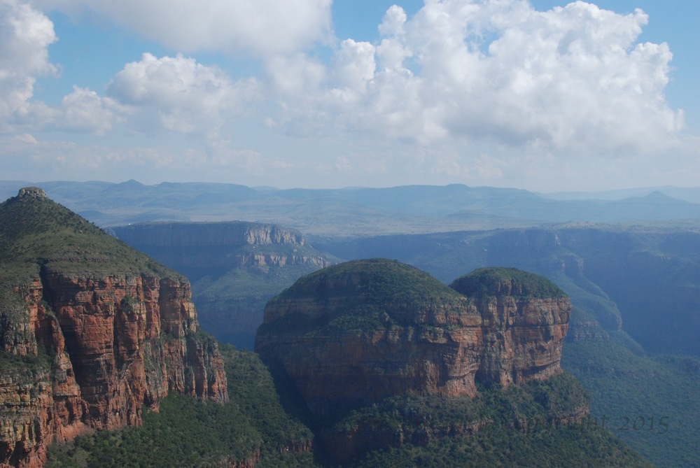 This photo of the Drakensberg was taken through the window of the helicopter.