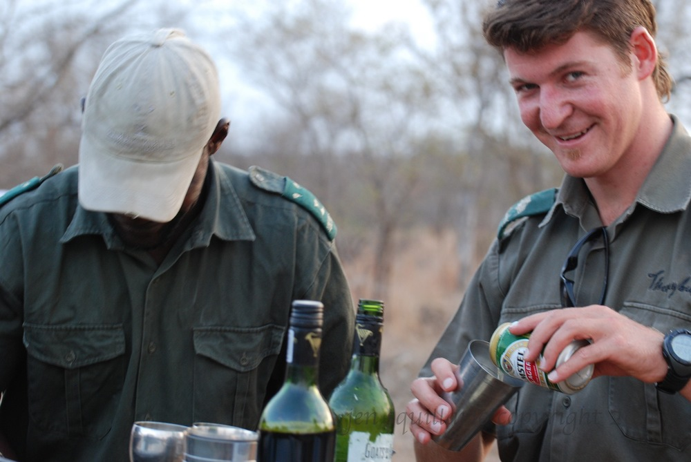 Richard in 2010 at Simbambili Game Lodge pours us some sundowners.