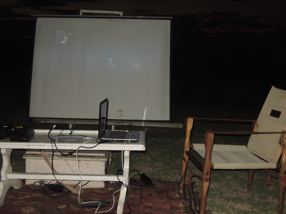"Our screen at the ""Bush Cinema"""