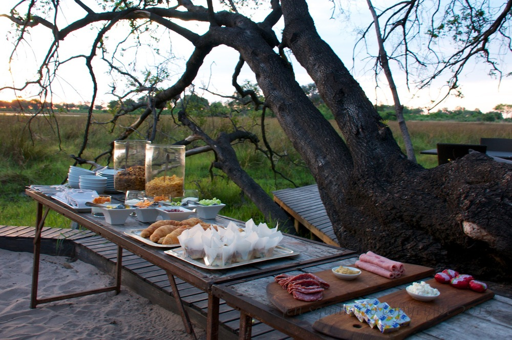 Pre-Safari breakfast with a view of the bush.