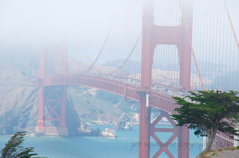Another one of the many views of the Golden Gate Bridge partially obscured by the fog (taken 2014).