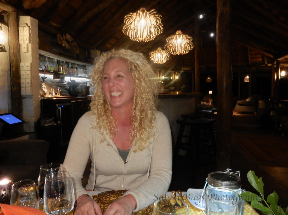 Jen at Tanda Tula enjoying dinner.