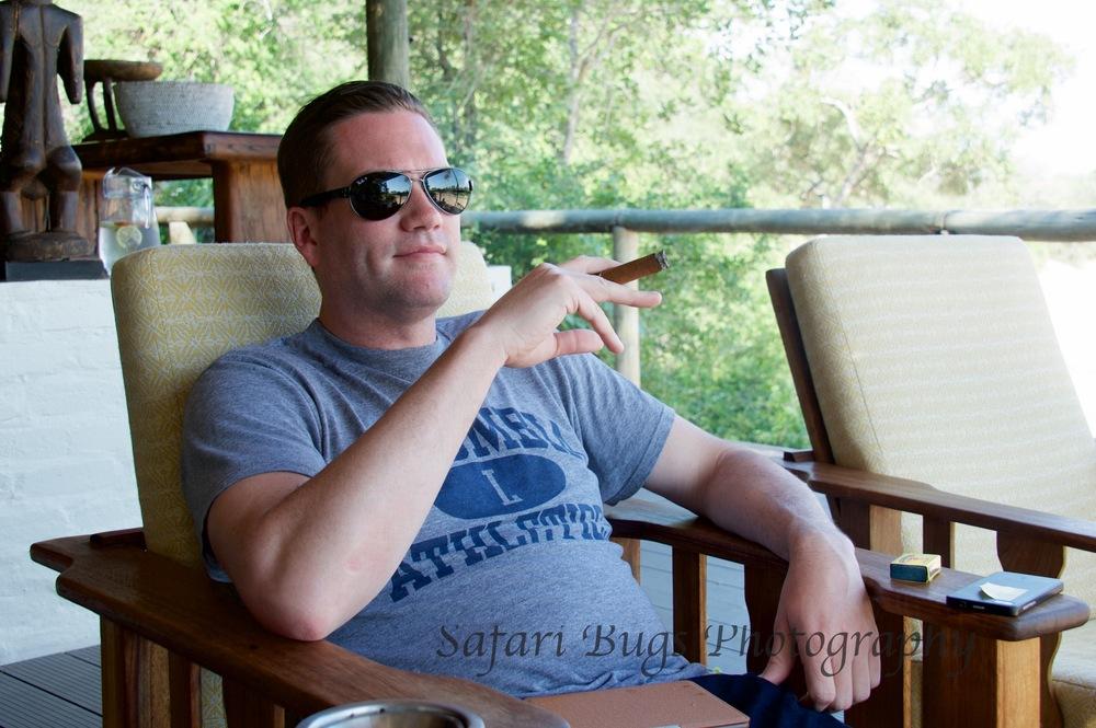 Ian enjoying his Cuban cigar