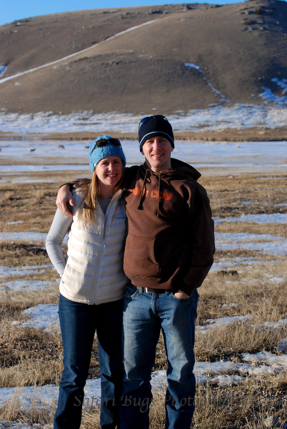 Steve and Ashleigh at the National Elk Refuge (for the record, the wind is pushing Steve's hoodie out)