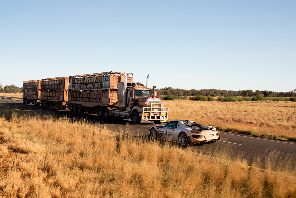 A road train, common in these parts of the country, passes by the 918 on Stuart Highway.