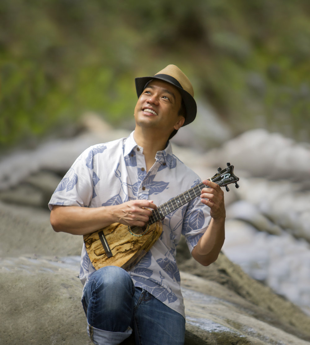 Daniel Ho With A Tiny Tenor Ukulele At Iao Valley, Maui