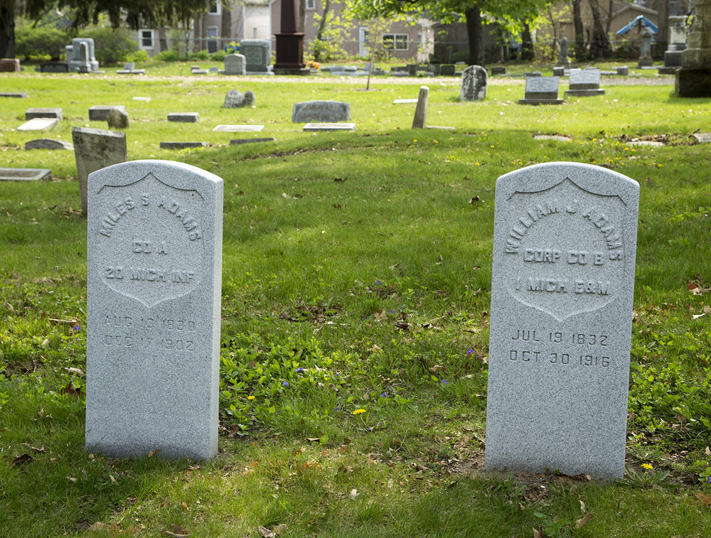 Note that Miles' headstone, left, mistakenly lists him in the 20th Michigan Infantry; in fact, after his service in the 3rd Michigan he was transferred to the 20th company VRC.