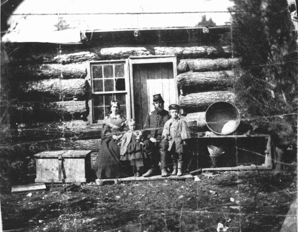 Samuel Judd and his family in winter camp in Virginia, 1861-62