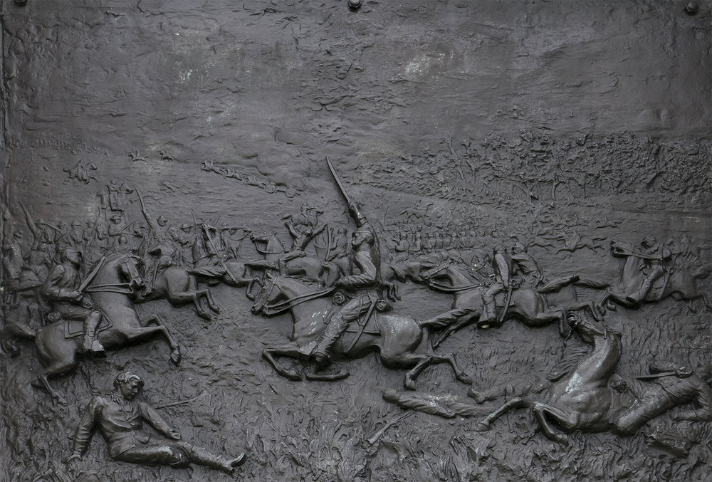 detail, relief showing Brigade in action against confederate cavalry. photo © Steve Soper. All rights reserved.