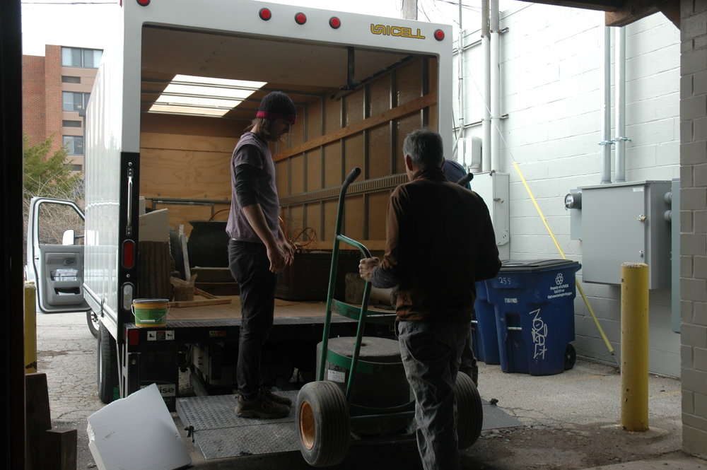 loading truck for Antiques and Garden show.JPG