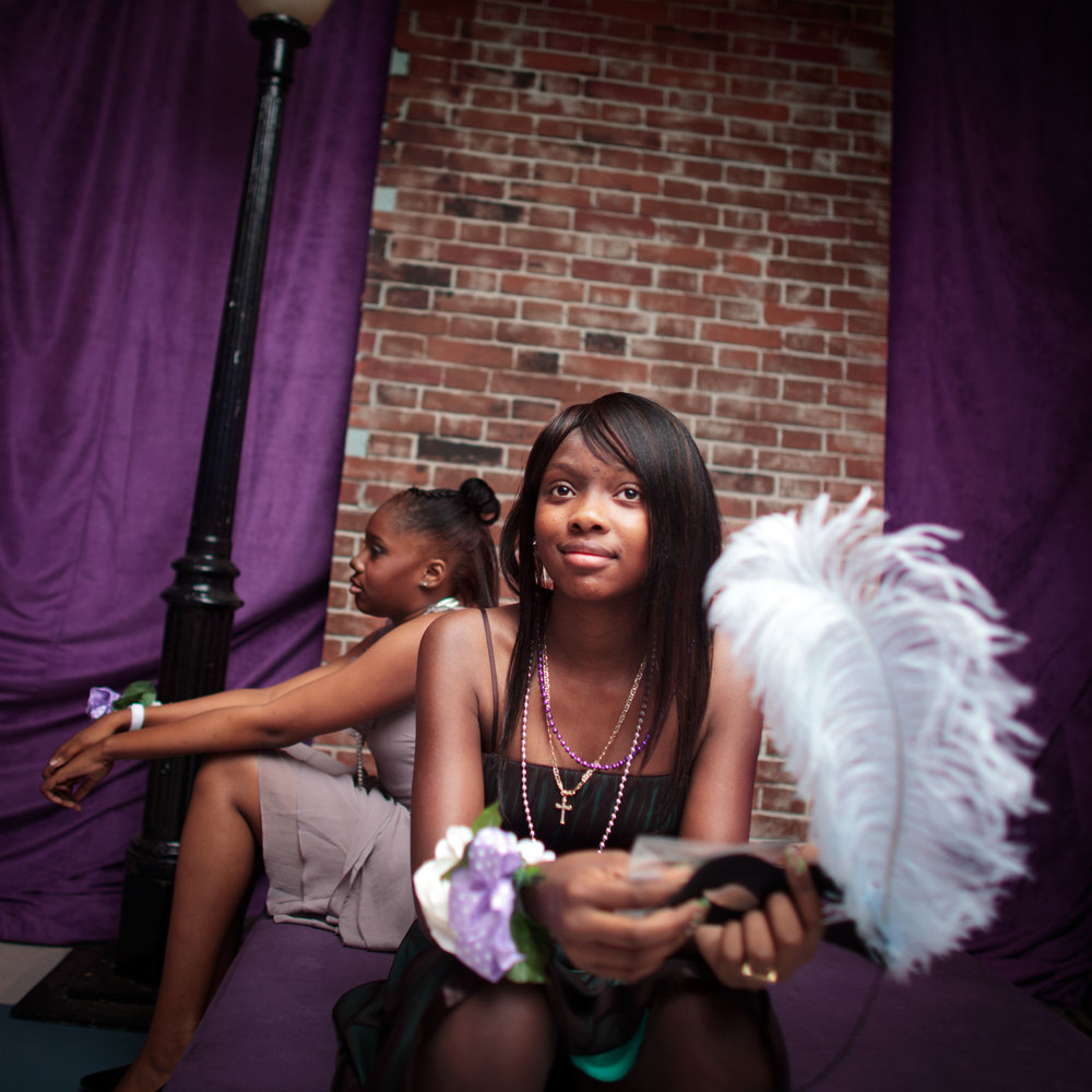 (L-R) Tatyana Maldonado 14, Sickle Cell Anemia, and Dazjahonique Johnson 13, brain tumor. May 2011, Bronx, NY.