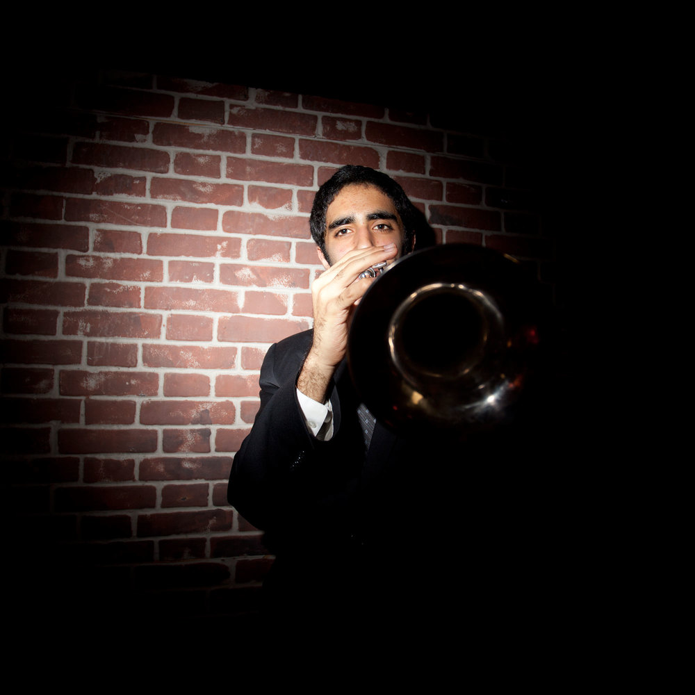 Trumpet player Riley Mulherkar at Montefiore Children's Annual Prom. May 2011, Bronx, NY.