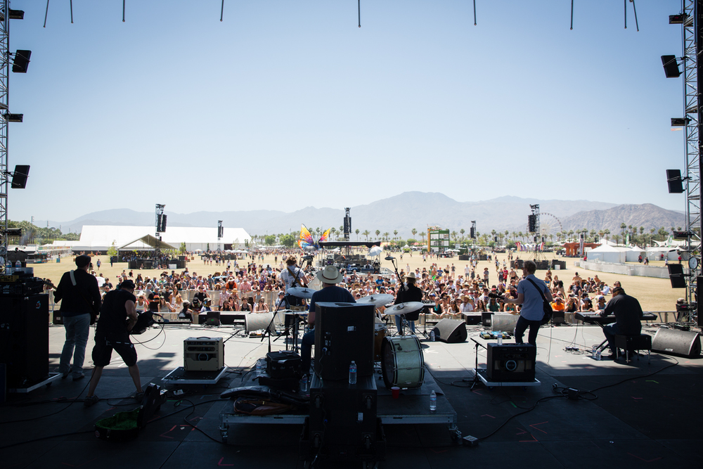 Jamestown Revival performs at the Outdoor Theatre at Coachella. The band has been on the rise since the beginning of last year, selling out shows in New York and Los Angeles.
