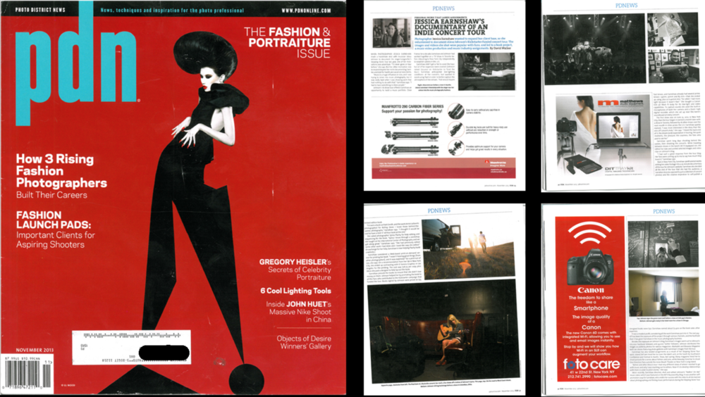 PDN Magazine,  'Jessica Earnshaw's Documentary of an Indie Concert Tour', Nov 2013.